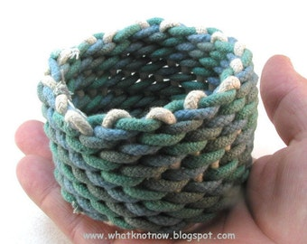 blue rope cuff wristband cord woven bracelet handmade right angle weave cuff rope jewelry 3200
