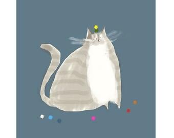Big Grey - Cat Print - Cat Painting