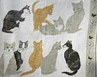 Vintage Tea Towel, Cats Towel, Linen Tea Towel, Ulster Daisy Cats Towel, Irish Linen Towel, Linen Cat Towel, Dish Towel, Made in Ireland