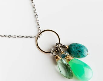 Olivia Necklace w/ Forged Gold/ Silver and Blue & Green Gems