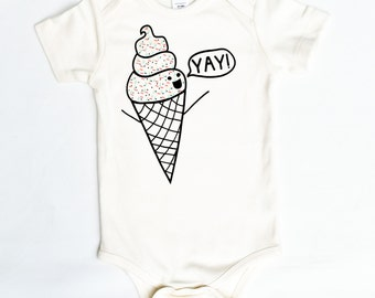 I Scream for Ice Cream, cute funny baby gift, organic cotton baby clothing, gender neutral birthday present, ice cream with sprinkles