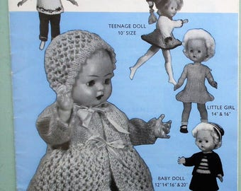 """Doll's Clothes in Double Knitting Penelope N 56 UK vintage 1960s knitting patterns booklet 10"""" 12"""" 14"""" 16"""" 20"""" dolls 60s original patterns"""