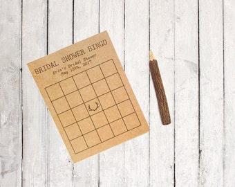 Bridal Shower Bingo - Antler Bridal Shower Game - Bridal Bingo Game - Bridal Shower Bingo Cards - Rustic Bridal Shower - Boho Antler Theme