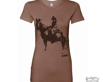 Womens COWBOY and HORSE T Shirt -hand screen printed s m l xl xxl (+ Colors Available)