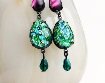 Green Opal Earrings Emerald Dangle Earrings Vintage Green Glass Earrings Fire Opal Statement Jewelry Green Purple Rhinestone Earrings