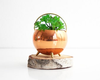 Copper Footed Planter by Coppercraft Guild / Copper and Brass Air Plant Pot / Mid Century Copper Planter / Vintage Coppercraft Guild Planter