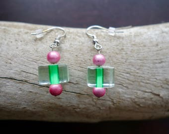 Green and Pink Glass Bead Earrings | Dangle with silver accents