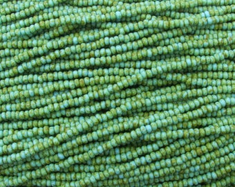 8/0 Matte Opaque Green Turquoise Picasso Czech Glass Seed Bead Strand (CW8) SE