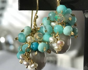 White Earrings Aqua Amazonite Ethiopian Opal Cluster Earrings White Quartz Agate Wire Wrap Gemstone Pearl Cluster 14kt Gold Fill Earrings