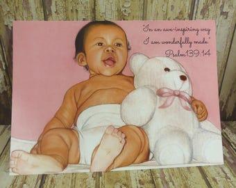 "5"" x 7"" Print ~ In an awe-inspiring way I am wonderfully made ~ Psalm 139:14 ~ Baby & Bear ~ Soft Chalk Pastels"
