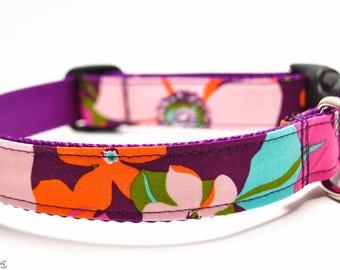 Pink Orange Turquoise Flower Dog Collar / Azalea / Martingale or Buckle / Floral Dog Collar