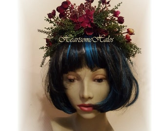 Head wreath fairy princess woodland wine hydrangea green flower tiara head piece