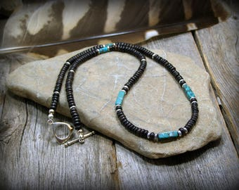 Mens Necklace Turquoise Necklace Beaded Necklace Heishi Necklace for Men Surfer Necklace Mens Jewelry