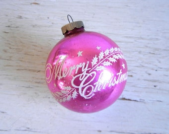 Shiny Brite Stenciled Ornament | Merry Christmas Ornament | Pink Ornament | Vintage Christmas