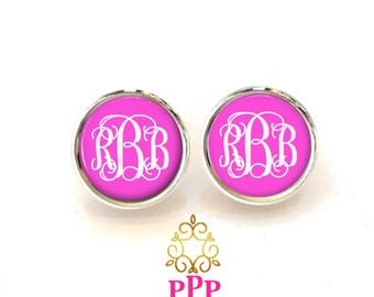 Pink Monogram Earrings  (330)