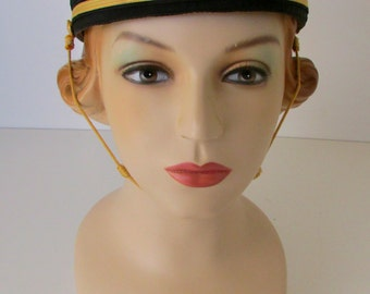 Vintage Hat Metallic Thread Military Style Fraternal Order Chin Strap