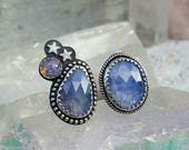 Tanzanite and Vintage Glass Opal in Sterling Silver size 8.75