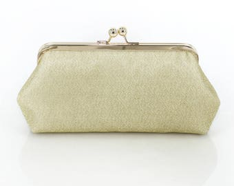 Shimmery Antique Gold Clutch Purse for Bride, Bridesmaid, Mothers