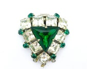 Large Vintage 1950's Rhinestone Paste necklace clasp or fastener Three row connector Emerald Clear square cut stones Unique Jewelry finding