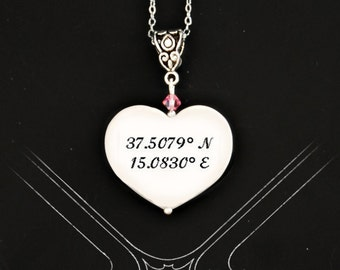 Custom Coordinates portrait  tile pendant  ))) fits European style Jewelries (((