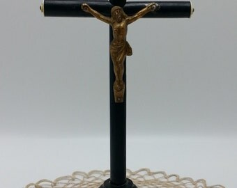 Beautiful Vintage Ebony Wood Crucifix Cross, Vintage Religious Cross , Antique Standing Wood Nuns cross.