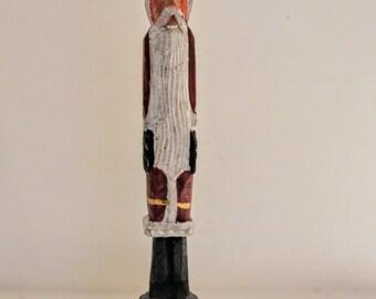 Santa Claus Figurine Folk Art Primitive Handcrafted