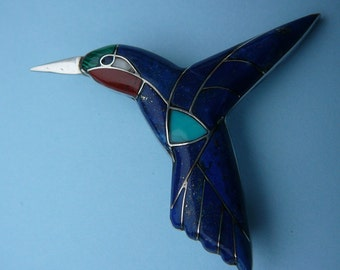 Vintage Hummingbird Brooch/Pendant - Lapis, Turquoise, Coral & MOP - Sterling Silver