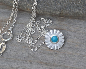 Turquoise Daisy Necklace Set in Sterling Silver