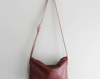 Cognac Brown Rustic Leather Day Bag Purse Statement Summer Bag