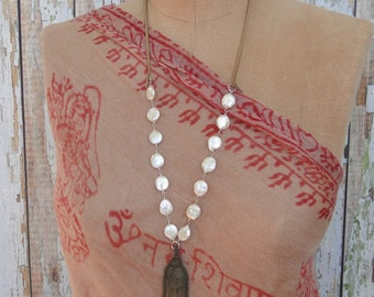 PEARLS and LEATHER with BUDDHA Pendant Necklace, yoga, boho, tribal