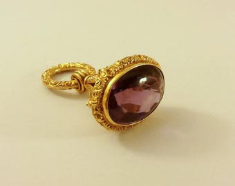 1890's, watch fob charm amethyst