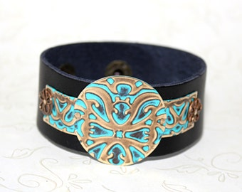 Leather Bracelets for Women, Vintaj Jewelry, Boho Jewelry, Leather Bracelet, Turquoise Bracelet, Brass Jewelry, Bohemian Jewelry