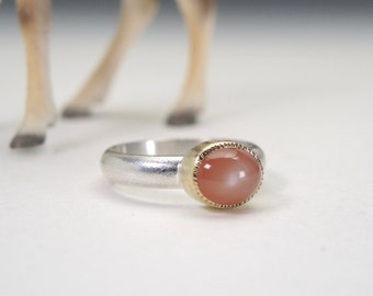 Peach Moonstone Ring, Sterling Silver, 18kt Gold