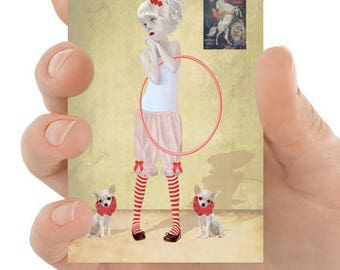 Clown ACEO Card - Clown Girl & Chihuahuas - Chihuhua ACEO Card - ATC - I Want To Join The Circus