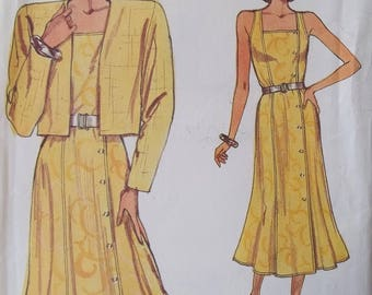 Retro 80's Sundress, Very Easy Vogue 9638 Misses' Sewing Pattern Square Neckline, Fitted Flared Dress, High Fashion Jacket Plus Size 14 - 18