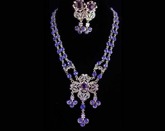 Exotic statement necklace / Amethyst rhinestone / Cross necklace set / Chandelier clip on earrings / Fit for a Queen / purple drops