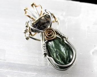 Seraphinite and Tibetan Quartz Pendant - Unique Original Jewelry Design by Philip Crow