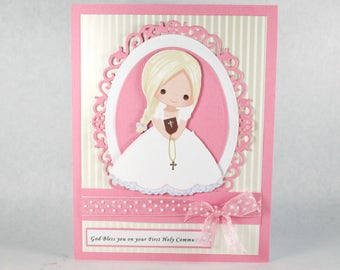 Communion card for girls, holy 1st communion, first communion, religious card, personalized card, personalised card