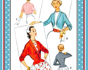 Vintage 1953-CROPPED PEPLUM JACKET-Sewing Pattern-Three Styles-Fitted-Lined-Shawl Collar-Dolman Sleeves-Roll-Up Cuffs-Size 16-Mega Rare