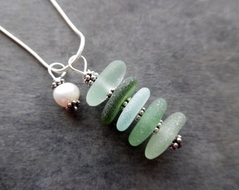 Stacked Sea Glass Necklace Beach Glass Green Jewelry Sterling  Pendant