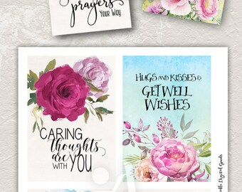 """Printable GET WELL CARDS No.1 digital download 3.5""""x5"""" size images hand-painted flowers typography art for print-it-yourself designed cards"""
