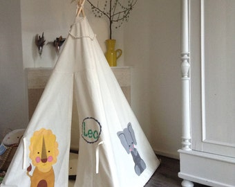 MIDI size teepee | Lion | Elephant | Monkey | Tipi Tent | Customized Play Tent | Kids Indoor Play Teepee | Baby Shower