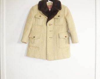 Vintage Tan and Brown Child's Jacket