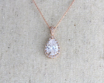 Rose gold Bridal necklace, Crystal Wedding necklace, Rose gold Bridesmaid necklace, Rose gold jewelry, Swarovski necklace, Teardrop necklace