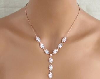 Crystal Bridal necklace, Rose Gold necklace, Wedding jewelry, Y necklace, Bridal jewelry, Wedding necklace, Rose Gold jewelry, SCARLETT