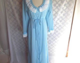 1960s Robe Vintage Robe Polka Dot Swiss Dot Lingerie Sky Blue Sz S Sz M