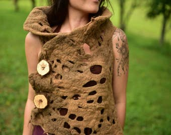 Felt Pixie Vest-Woodland Costume-Forest Top- Nymph Top-Druid Costume-Tree Top-Tree Costume-Pixie Vest-Tree Roots-Wool Vest-Seamless VestOOAK