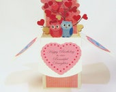 Custom Birthday with Owl Card Request - Gift Card Holder - Custom Personalized Card - Handmade in USA