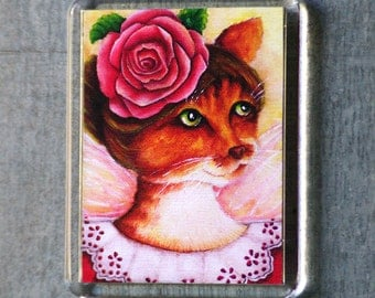 Rose Cat Magnet, Victorian Flower Fairy Ginger Cat Art Fridge Magnet