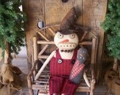PriMiTiVe Winter Snowman Art Doll & Grungy Snow Man Stump Friend Prim Hand-Stitching OFG HAFAIR FAAP